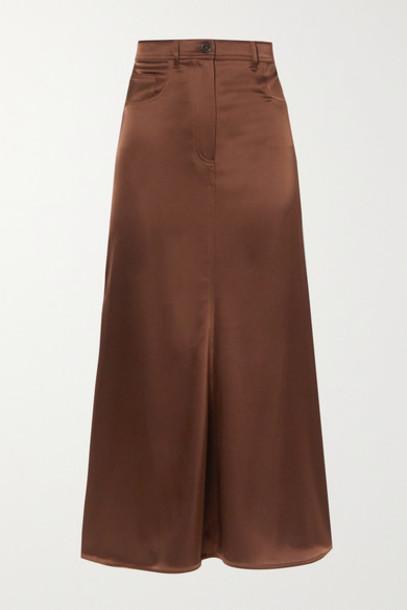 Nanushka - Magnolia Satin Midi Skirt - Brown