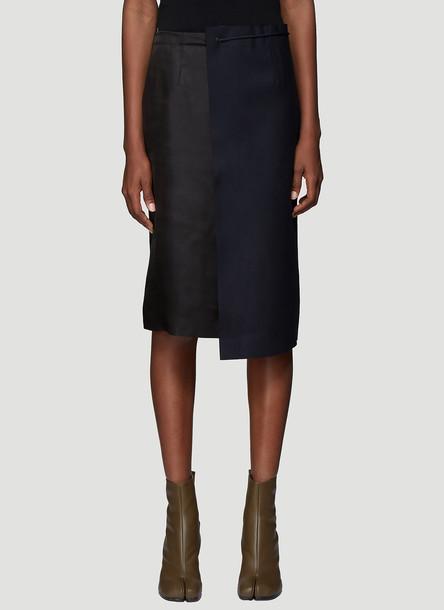 Maison Margiela Contrast Panel Drawstring Skirt in Navy size IT - 38