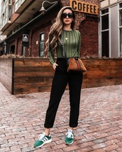 shoes,adidas shoes,green sneakers,black pants,high waisted pants,straight pants,green sweater,gucci bag,brown bag