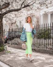 skirt,midi skirt,green skirt,white sneakers,denim jacket,handbag,white t-shirt,asos