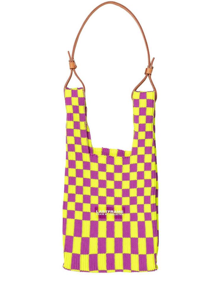 LASTFRAME Small Ichimatsu Market Bag W/ Leather in purple / yellow