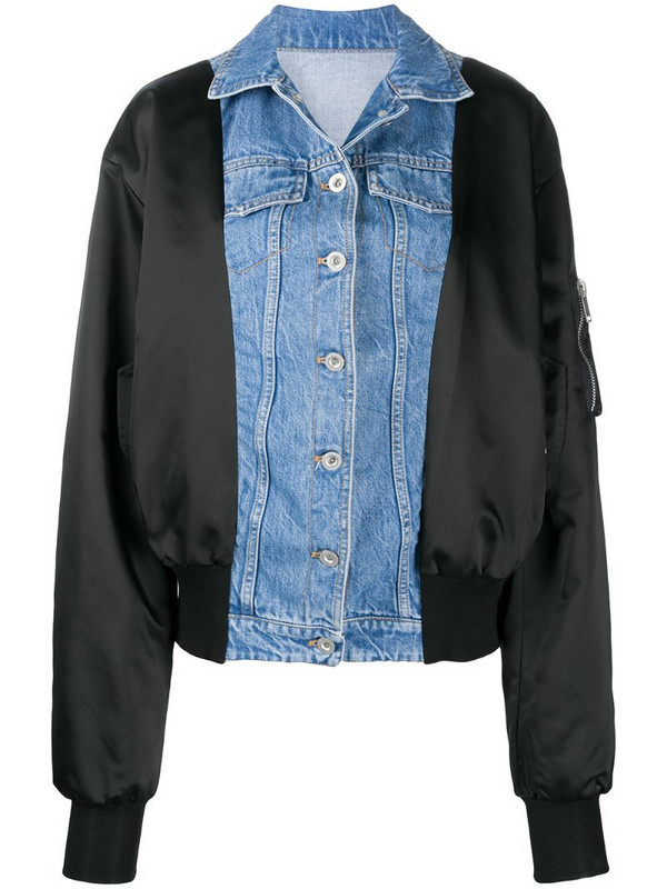 UNRAVEL PROJECT contrast panel bomber jacket in blue