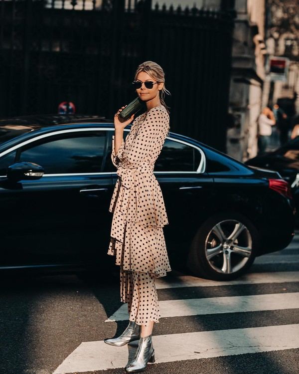 dress midi dress ruffle dress polka dots long sleeve dress ankle boots