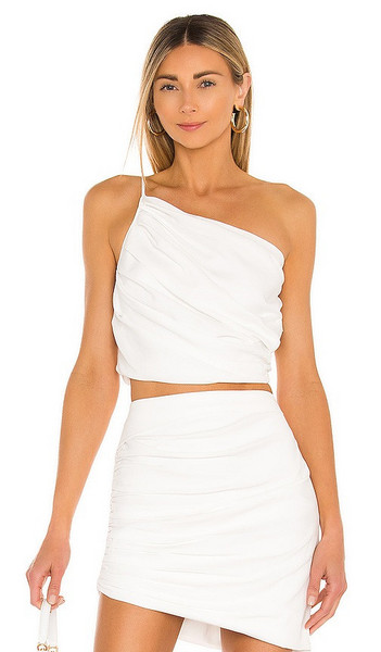 The Sei Asymmetrical Pleat Top in White in ivory