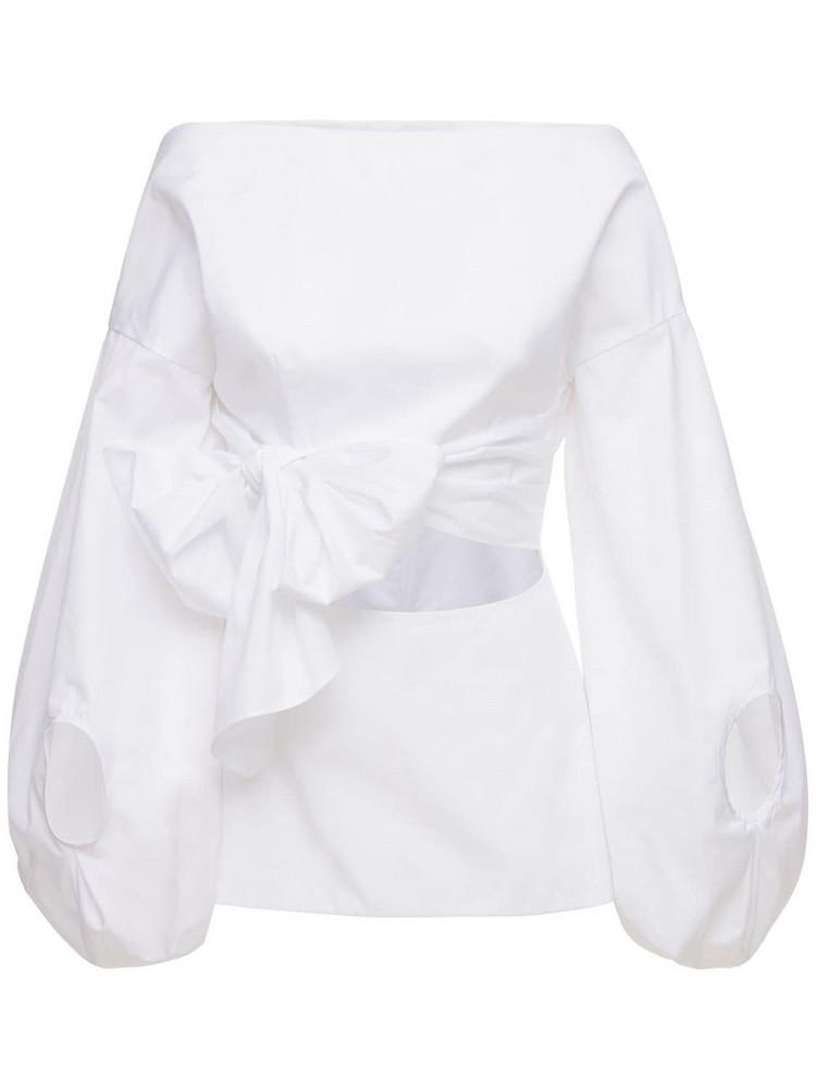 ROSIE ASSOULIN Belted Cotton Poplin Shirt in white