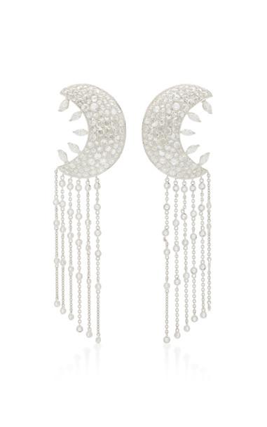 Lauren X Khoo Cosmic Crescent Chandelier Earrings in white