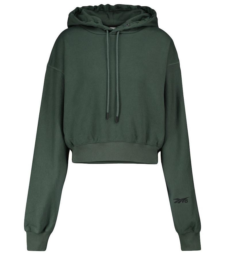 Reebok x Victoria Beckham Cropped cotton hoodie in green