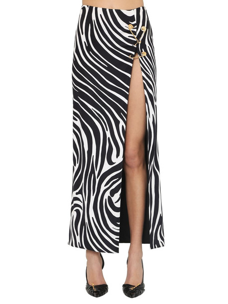 VERSACE Printed Stretch Jersey Midi Skirt W/pins in black / white