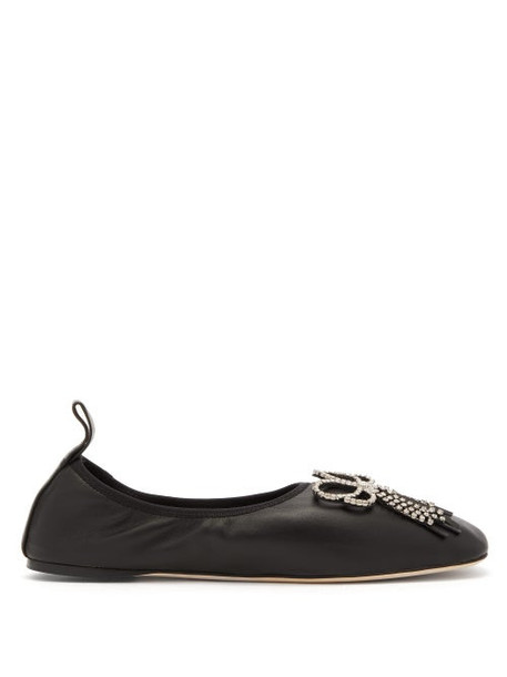 Loewe - Square Toe Crystal Bow Leather Flats - Womens - Black