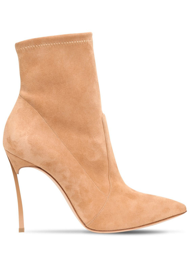 CASADEI 100mm Blade Stretch Suede Ankle Boots in camel