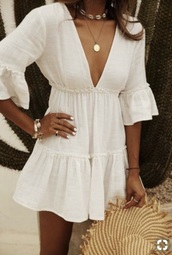 dress,white dress,white,shorts,cute,cute outfits,flowy