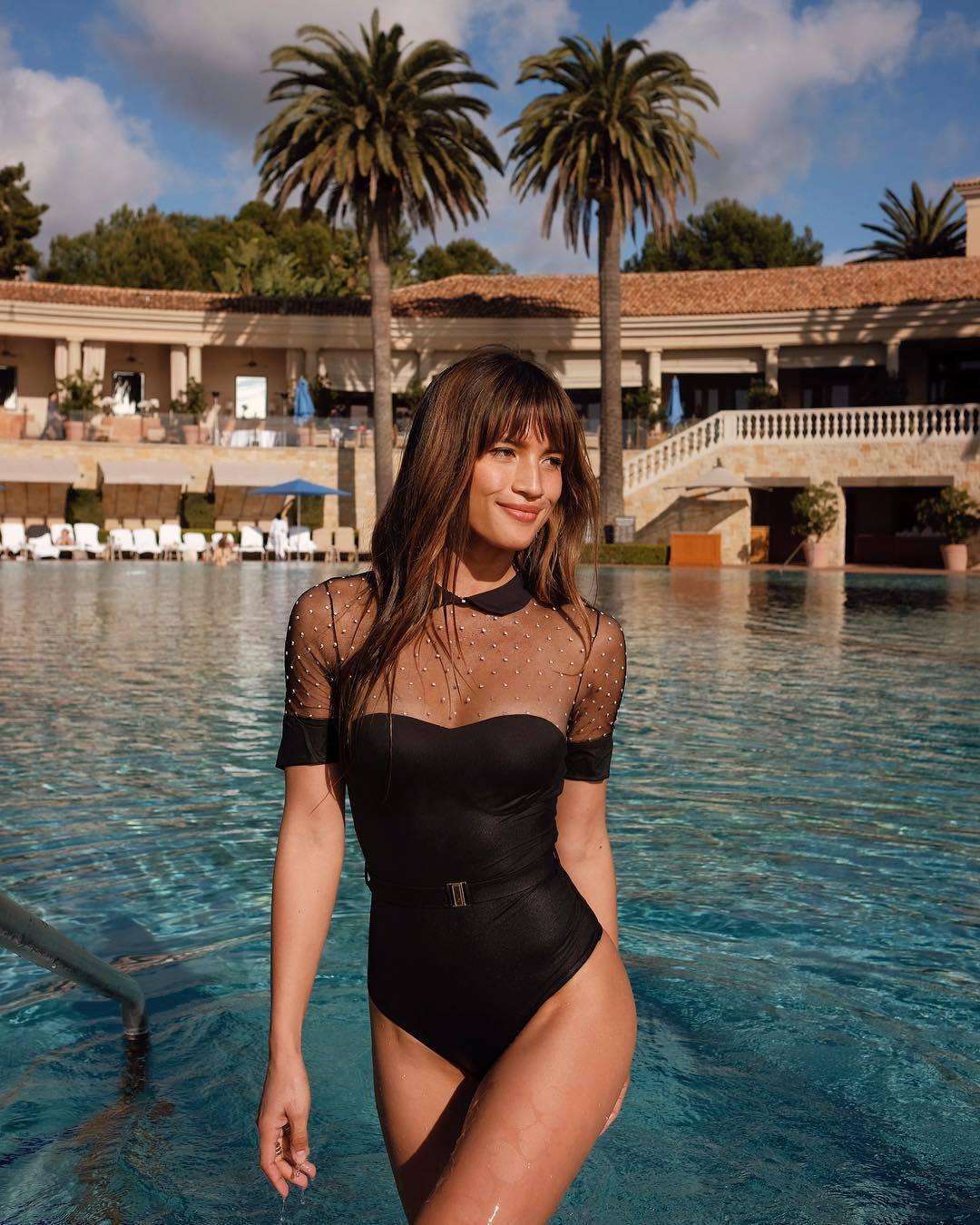 swimwear rocky barnes instagram black swimwear one piece swimsuit blogger
