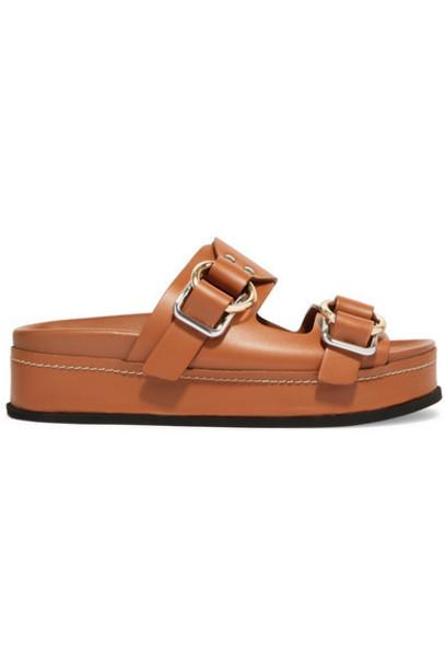 3.1 Phillip Lim - Freida Leather Platform Sandals - Tan