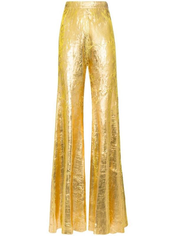 Halpern high-waisted flared trousers in gold
