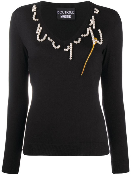Boutique Moschino beaded V-neck jumper in black