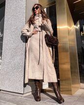 dress,midi dress,knitwear,cardigan,long cardigan,knee high boots,bag