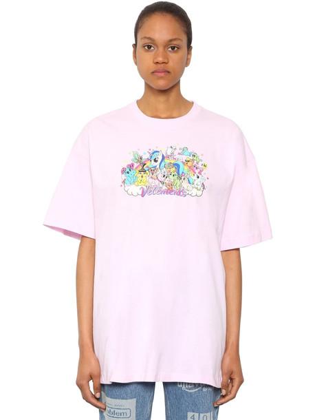 VETEMENTS Oversize Unicorn Cotton Jersey T-shirt in pink