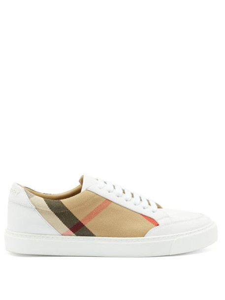 Burberry - Salmond Check-panel Leather Trainers - Womens - Beige White