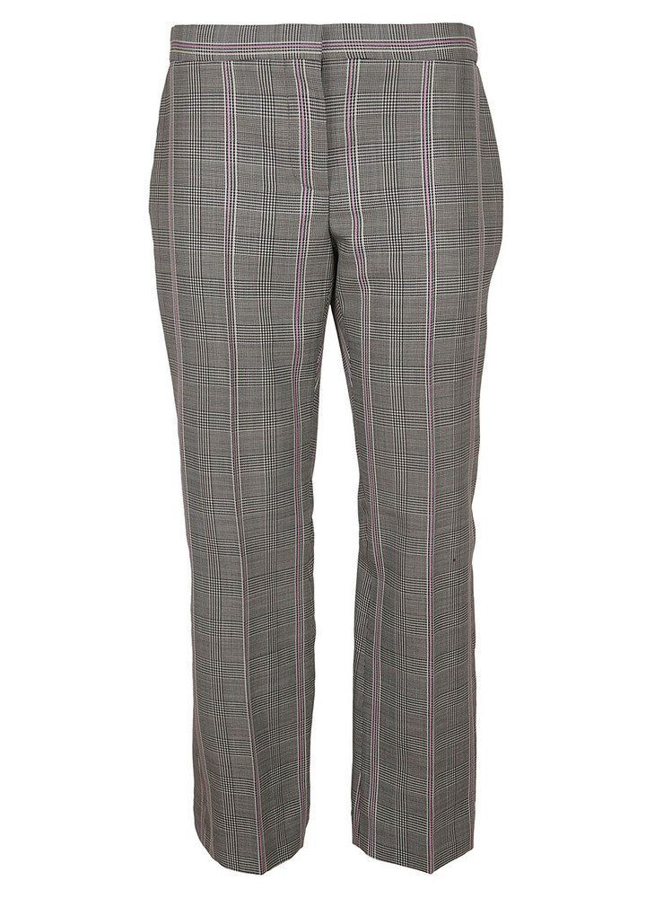 Alexander Mcqueen Cropped Check Trousers in black / pink / white