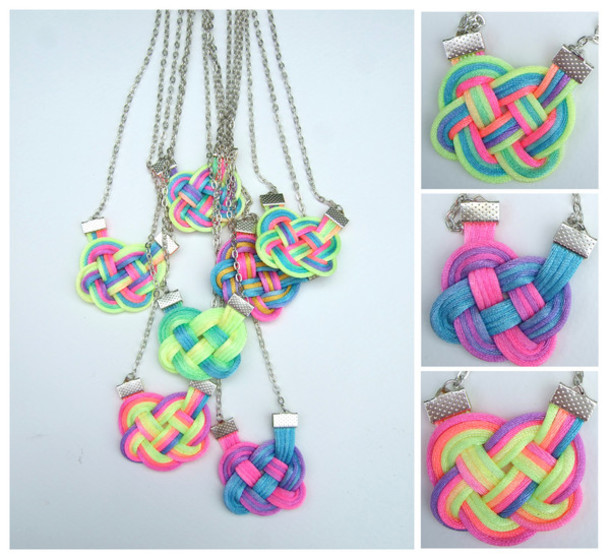 jewels neon rainbow dip dyed ombre knot knot necklace necklace multicolor summer