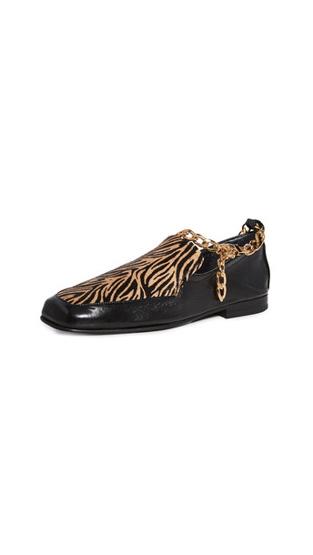 BY FAR Nick Flats in brown / print