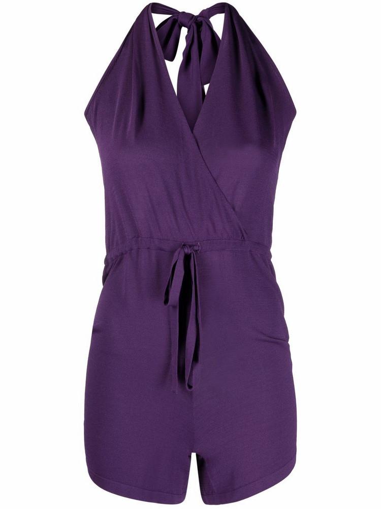 P.A.R.O.S.H. P.A.R.O.S.H. fine-knit halterneck playsuit - Purple