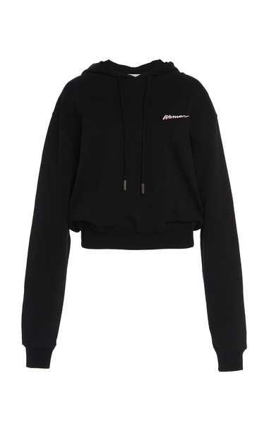 Off-White c/o Virgil Abloh Printed Cotton Fleece Cropped Hoodie in black