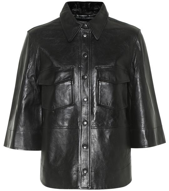 Ganni Leather shirt in black