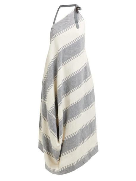 Vivienne Westwood Anglomania - Asymmetric Striped Cotton Blend Halterneck Dress - Womens - Blue Multi