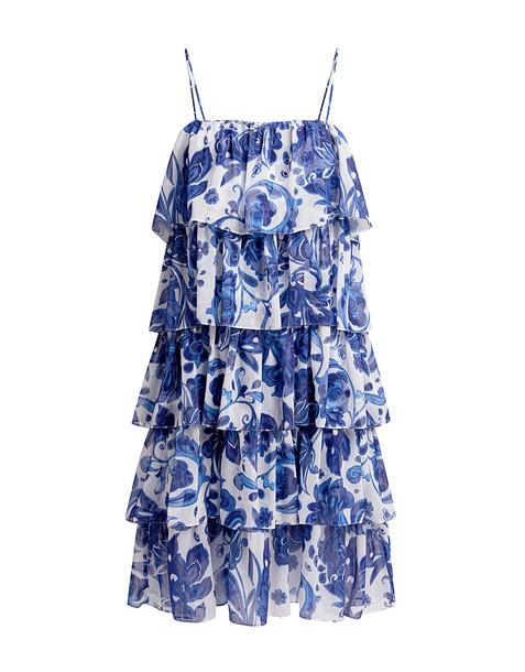 Caroline Constas Floral Ruffled Knee Length Dress Blue
