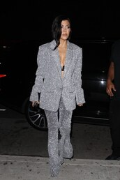 underwear,bra,lingerie,kourtney kardashian,kardashians,pants,glitter,blazer,silver,celebrity