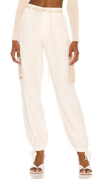 L'Academie Lena Pant in Cream in khaki / white