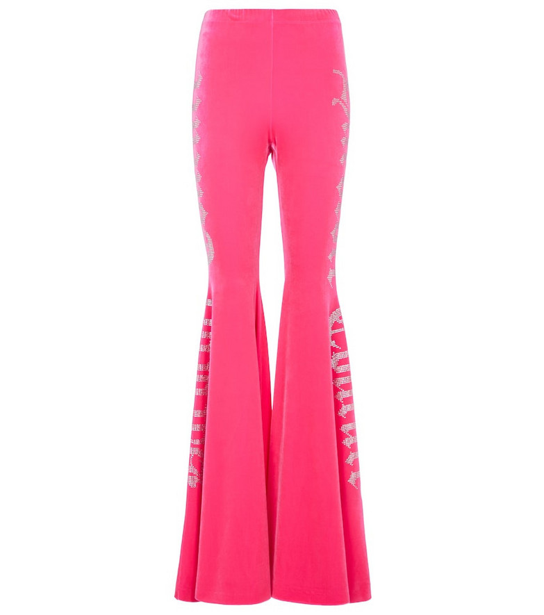 VETEMENTS Crystal logo flared pants in pink