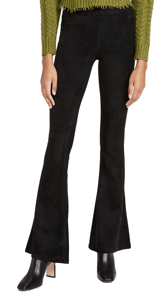 Blank Denim Microsuede Pull On Flare Pants in black