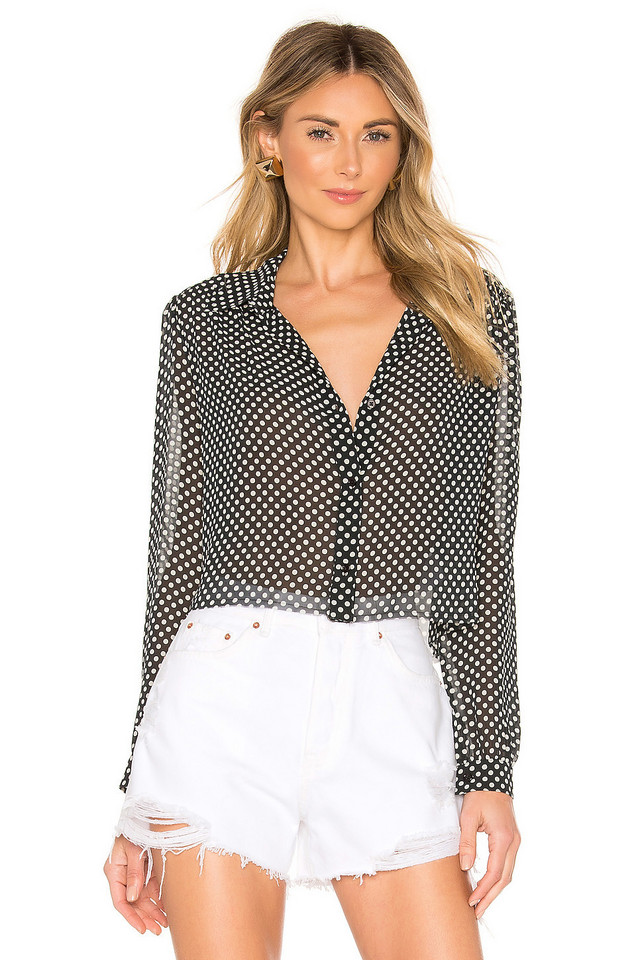 RE/DONE 60s Cropped Blouse in black