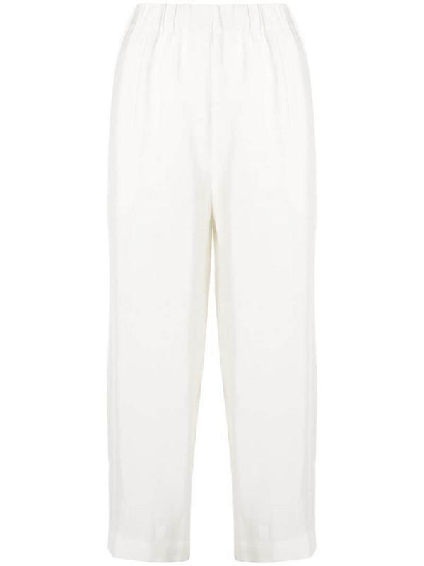 Erika Cavallini cropped wide leg trousers in white