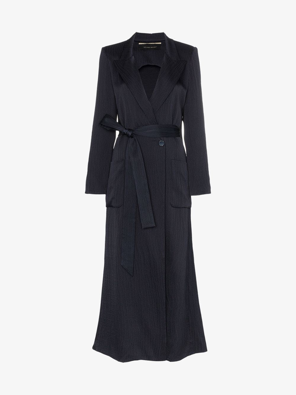 Roland Mouret Heathcoat hammered silk coat in blue