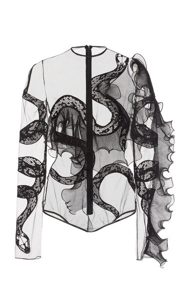 David Koma Embroidered Sheer Cotton Bodysuit Size: 6 in black