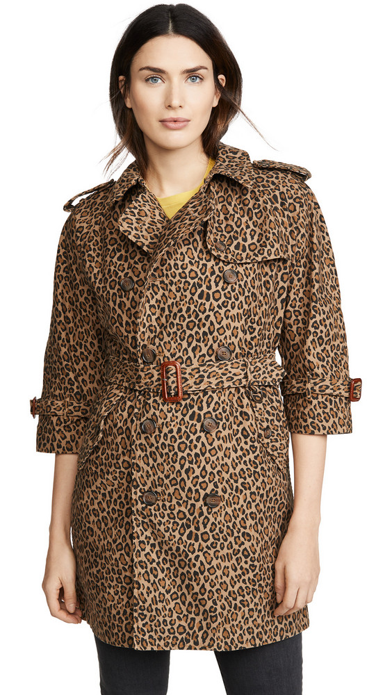 R13 Raglan Sleeve Trench in leopard