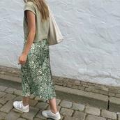 skirt,green,white,floral,satin,midi skirt