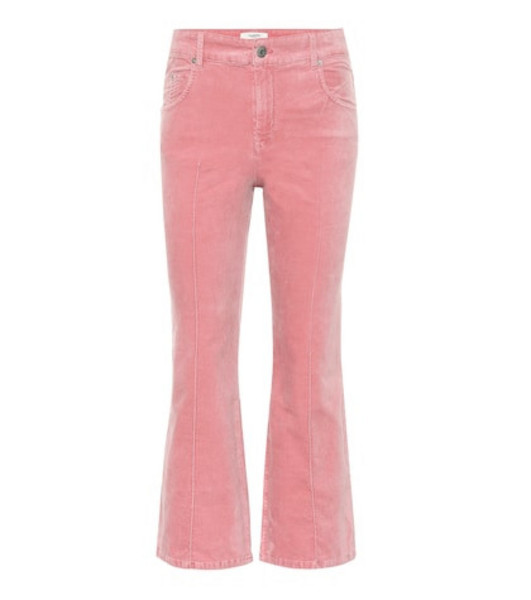 Isabel Marant, Étoile Anyree cropped velvet pants in pink