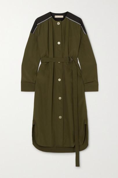 Marni - Belted Cotton-poplin Midi Dress - Army green