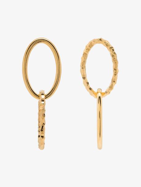 All Blues gold tone Elipse double hoop earrings