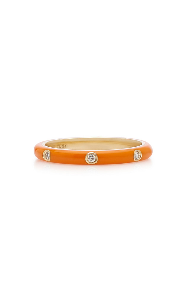 EF Collection 14K Gold and Diamond Enamel Ring in orange