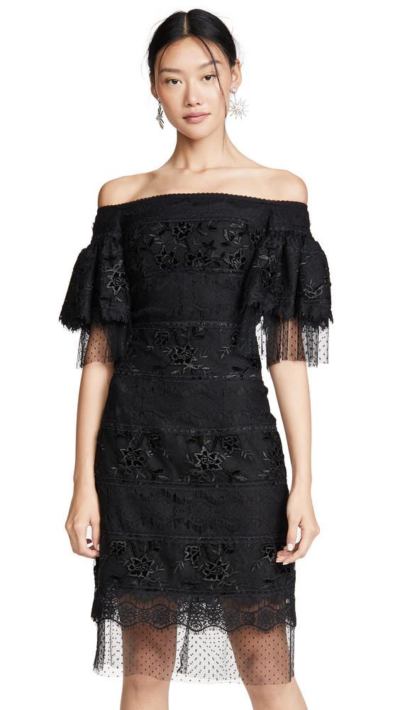 Costarellos Off Shoulder Sheath Dress in black