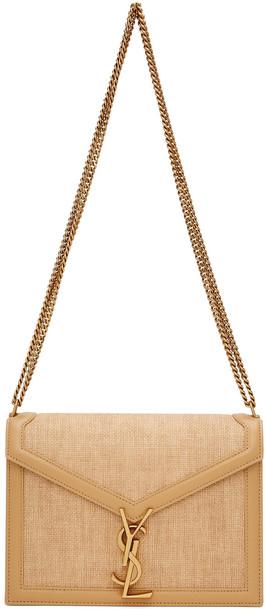 Saint Laurent Beige Raffia Medium Cassandra Bag