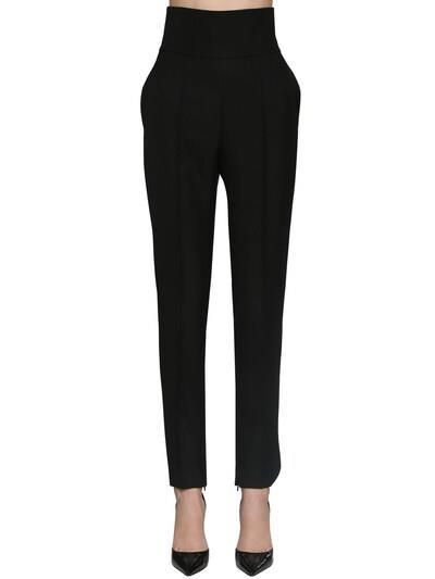 ALEXANDRE VAUTHIER High Waist Wool Gabardine Pants Black