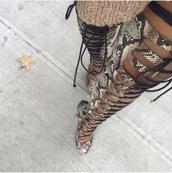 shoes,snake print,thigh high boots,thigh highs