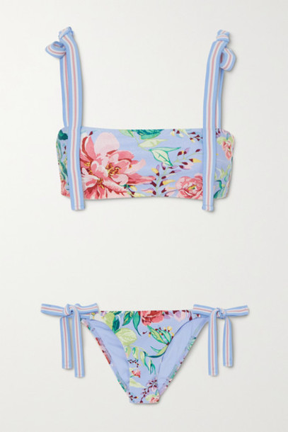 Zimmermann - Bellitude Floral-print Bikini - Light blue