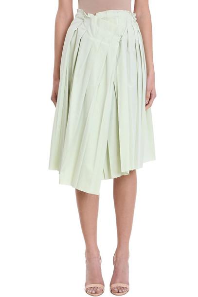 Maison Flaneur Asymmetric Mint Wool Skirt